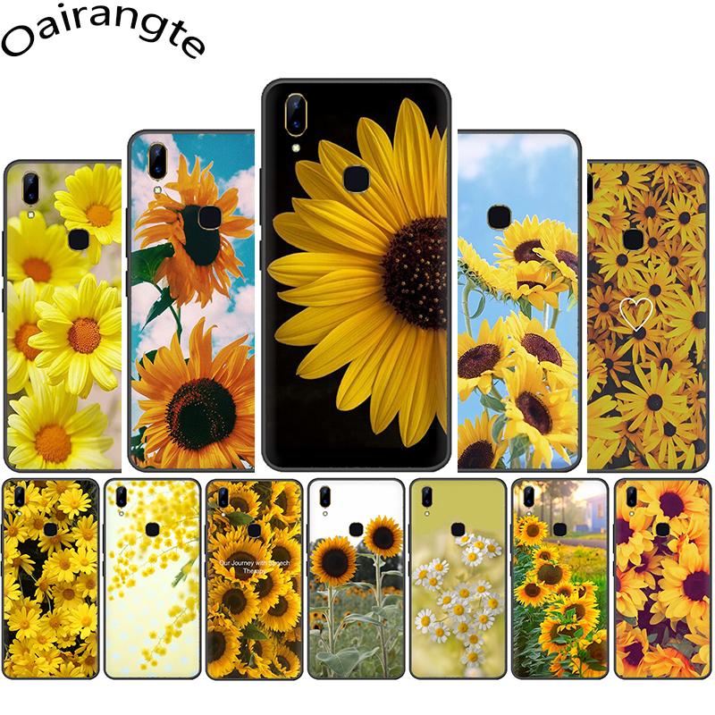Yellow flower Small daisy sunflower Silicone phone <font><b>case</b></font> for <font><b>VIVO</b></font> Y53 Y55 Y81 V5 V7 V9 V11 V15 Pro Y17 Y69 <font><b>Y71</b></font> Y91 Y93 Y66 image