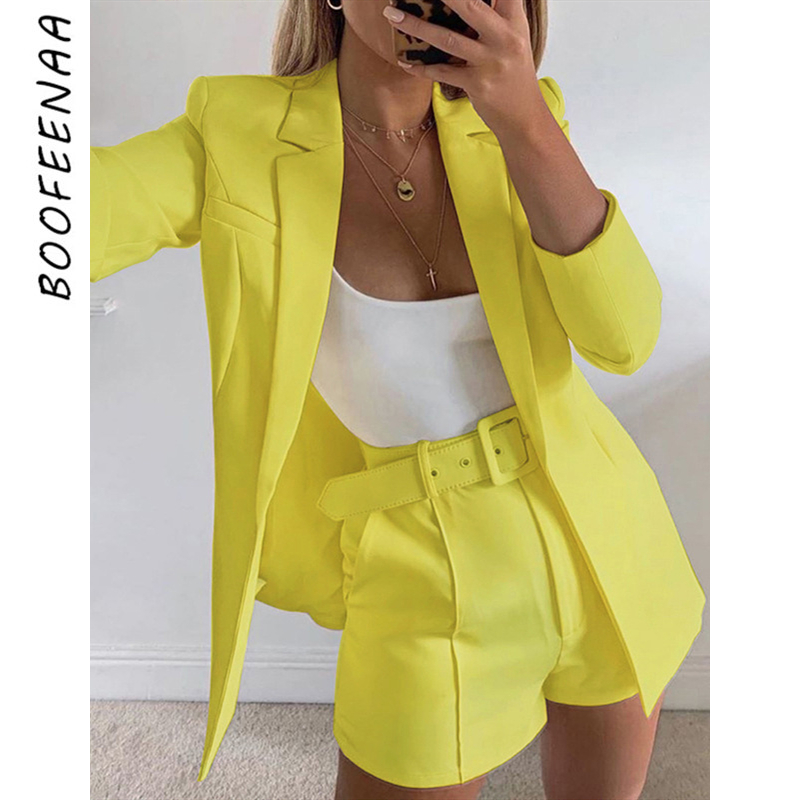 BOOFEENAA Elegant Fashion 2 Piece Sets Womens Outfits Solid Color Blazer Shorts Sexy Two Piece Set Women Clothes C66-BA87