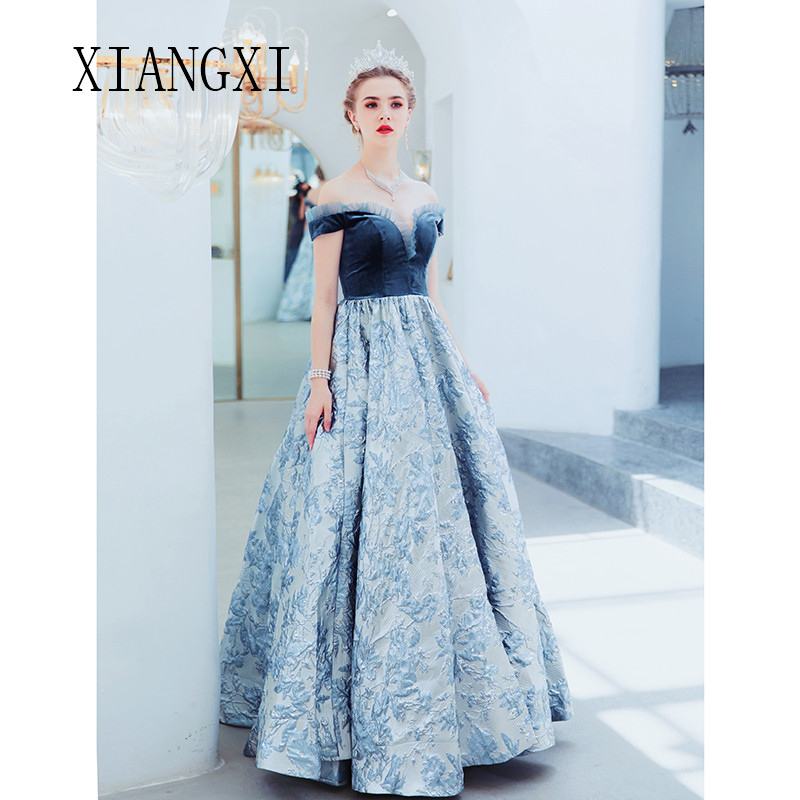 Vestido De Festa Long Evening Dresses 2020 Off The Shoulder Ball Gown Formal Party Gowns robe de soiree Evening Dress
