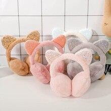 1 шт., милые плюшевые наушники с кошачьими ушками, блестящие мягкие ушанки с блестками, повязка на голову для детей, для мальчиков и девочек, унисекс, винтажные ушапочки, зимняя уличная одежда