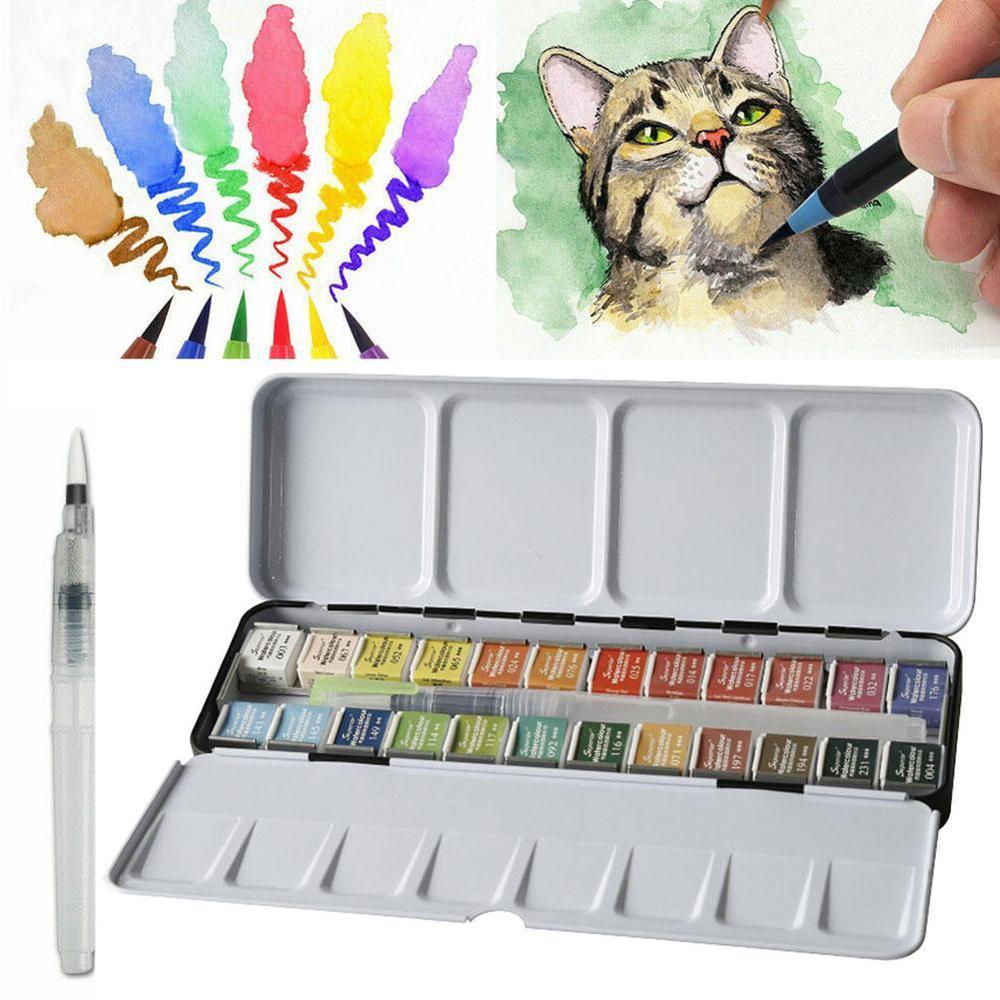 12/24/36/48 Colors Pigment Solid Watercolor Paints Set With Paintbrush Watercolor Pigment Set Art Supplies