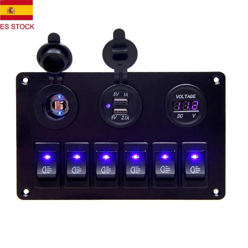 Car Marine Boat 6 Gang 12V-24V Circuit Blue LED Rocker Switch Panel USB