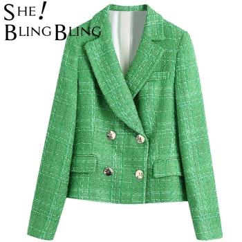 SheBlingBling 2021 Za Woman Simple Green Plaid Tweed Fitted 2 Pieces Set Traf Blazers Female OL Jacket England Style Short Coats