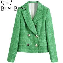SheBlingBling Za Simple Green Plaid Tweed Notched Double-Breasted Fitted Blazers Female England Style Pockets Short Coats