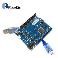 Leonardo r3 microcontrolador › placa de desenvolvimento, com cabo usb compatível com arduino kit iniciante diy
