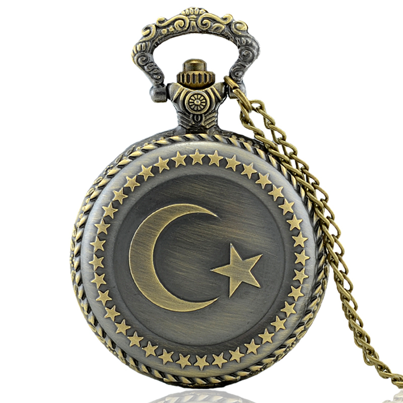 IBEINA Turkish Flag Theme Full Hunter Quartz Engraved Fob Retro Pendant Pocket Watch Chain Gift