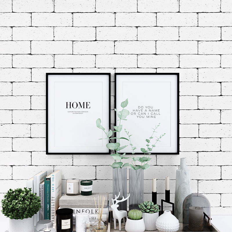3D Brick White Brick Pattern Nordic Wallpaper INS Modern Minimalist Bricks Background Wallpaper Faux White Brick
