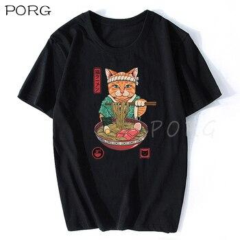 Neko Ramen-Camiseta de Anime de gato japonés para Hombre, Camiseta clásica de...