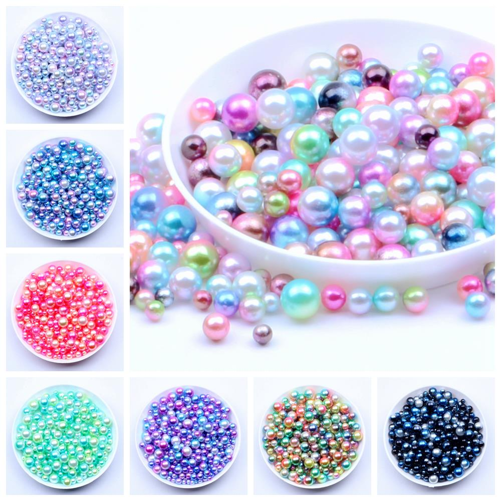 80Pcs 5mm Rainbow Colorful No Hole Pearl Beads Brilliant Loose Beads DIY