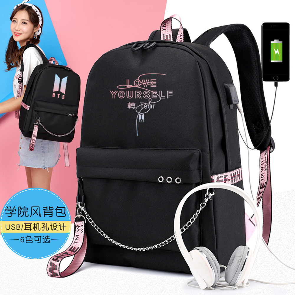 BTS Tj Heng Min Yun Its Celebrity Inspired Shoulder School Bag Korean-style-Style Women's Large USB Charging