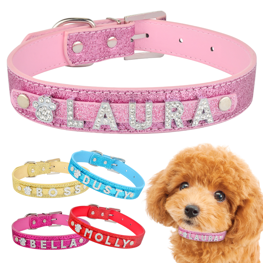 Personalized Dog Collar Leather Rhinestone Bling Charms Custom Pet Dogs Cat Name 6