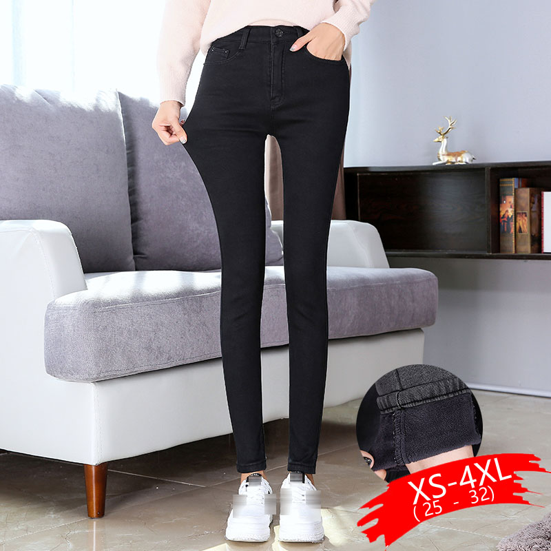 New Skinny Pants Women Jeans Winter Thick Velvet Slim Winter Warm Long Trousers High Waist Lady Jeans Denim Pencil Pants