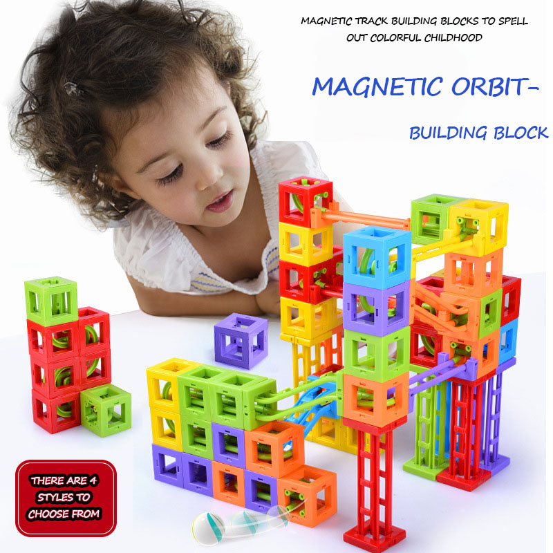 Creative Ball Track Magnetic Block Pieces A Variety Of Sets Of Puzzle Blocks Children's Puzzle Toys Plastic Materials