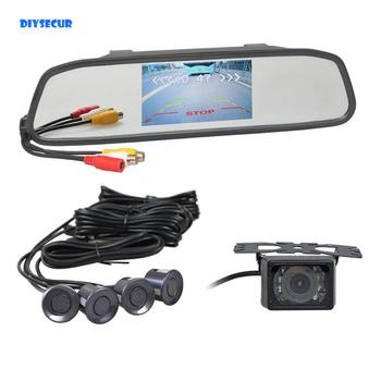 "DIYSECUR 3 in 1 Video Parking Radar 4 Sensors 4.3"" Car Mirror Monitor + HD IR Night Vision Rear View Car Camera"