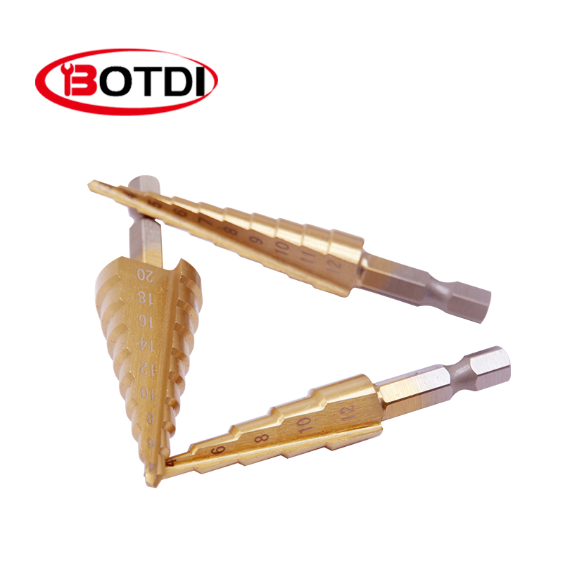 3 Pieces Of Drill Bit With Titanium Coating Hss Cone Hole Cutter 3-12/4-12/4-20 Hexagonal Taper Drill Power Tool Accessories