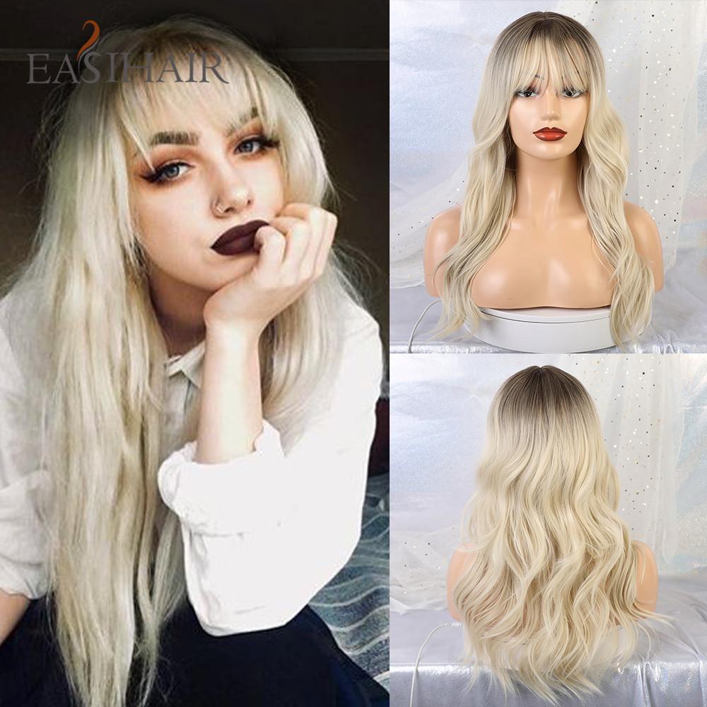 EASIHAIR Long Ombre Brown To Blonde Wigs With Bangs Synthetic Wigs For Black Women Glueless Wavy Cosplay Wigs High Temperature