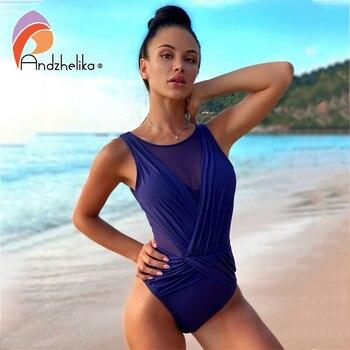 Andzhelika Sexy Mesh Swimsuit Patchwork One Piece Swimsuit Women New 2020 Swimwear Vintage Bathing Suits Beach Wear Monokini 1