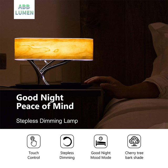 Modern led table lamp for bedroom dimmable bluetooth Speaker phone Charger 4
