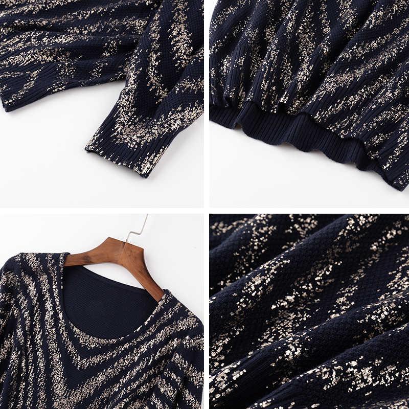 YISU נשים פסים הדפסת סוודר 2019 סתיו חורף חדש סרוג סוודר ארוך שרוול O-צוואר מקרית jumper Loose סוודר נשים
