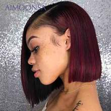Burgundy Lace Front Wig Colored Ombre Human Hair Wi
