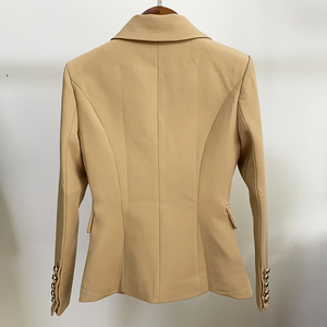 Image 5 - TOP QUALITY New Stylish 2020 Classic Designer Blazer Womens Double Breasted Metal Lion Buttons Blazer Jacket Outer Wear Khaki