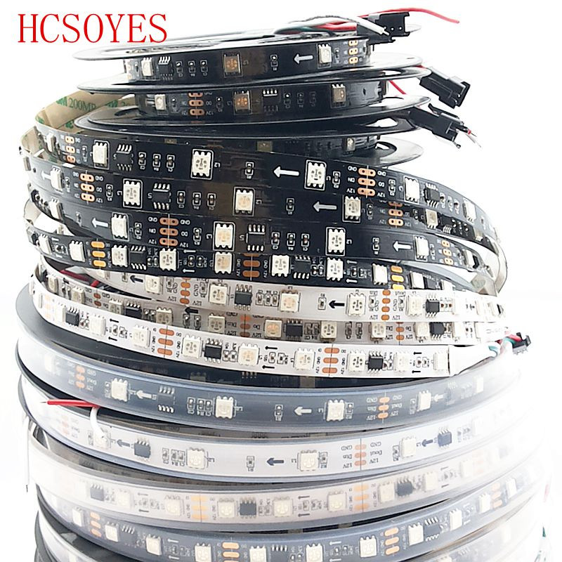 5m WS2811 Led Strip 30/48/60 Leds/m,10/16/20 Pcs Ws2811 Ic/meter,DC12V White/Black PCB,Addressable Digital 2811 Led Strip
