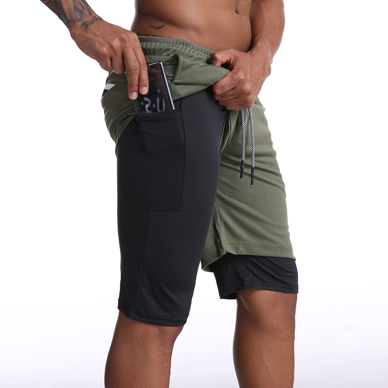 Men 2 in 1 Running Shorts Jogging Gym Fitness Training Quick Dry Beach Short Pants Male Summer Sports Workout Bottoms Clothing 2
