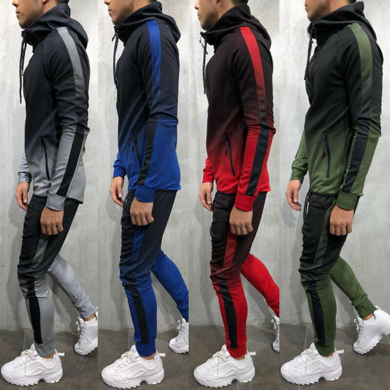 2019 Brand New Men Color Gradient Tracksuit Hoodie Sets Fashion Autumn Winter Slim Fit Joggers Gym Sport Zipper Suit With Pocket