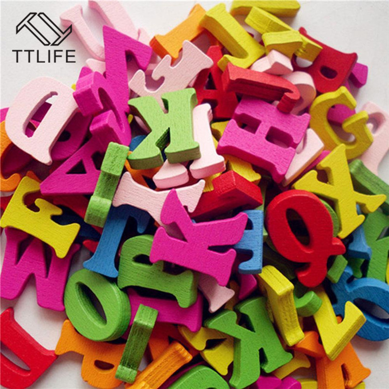 100 Pcs Diy Crafts Children Puzzles Toys Educational Wooden Alphabet Toy Scrabble Letters Colorful Decorative Letters Numbers