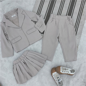 Image 5 - Baby Girl Casual Blazer Jackets Sets 2019 Autumn New Toddler Outfits Kids Girls Long Sleeve Blazer Coat+skirt/pants Suits 2 7Y