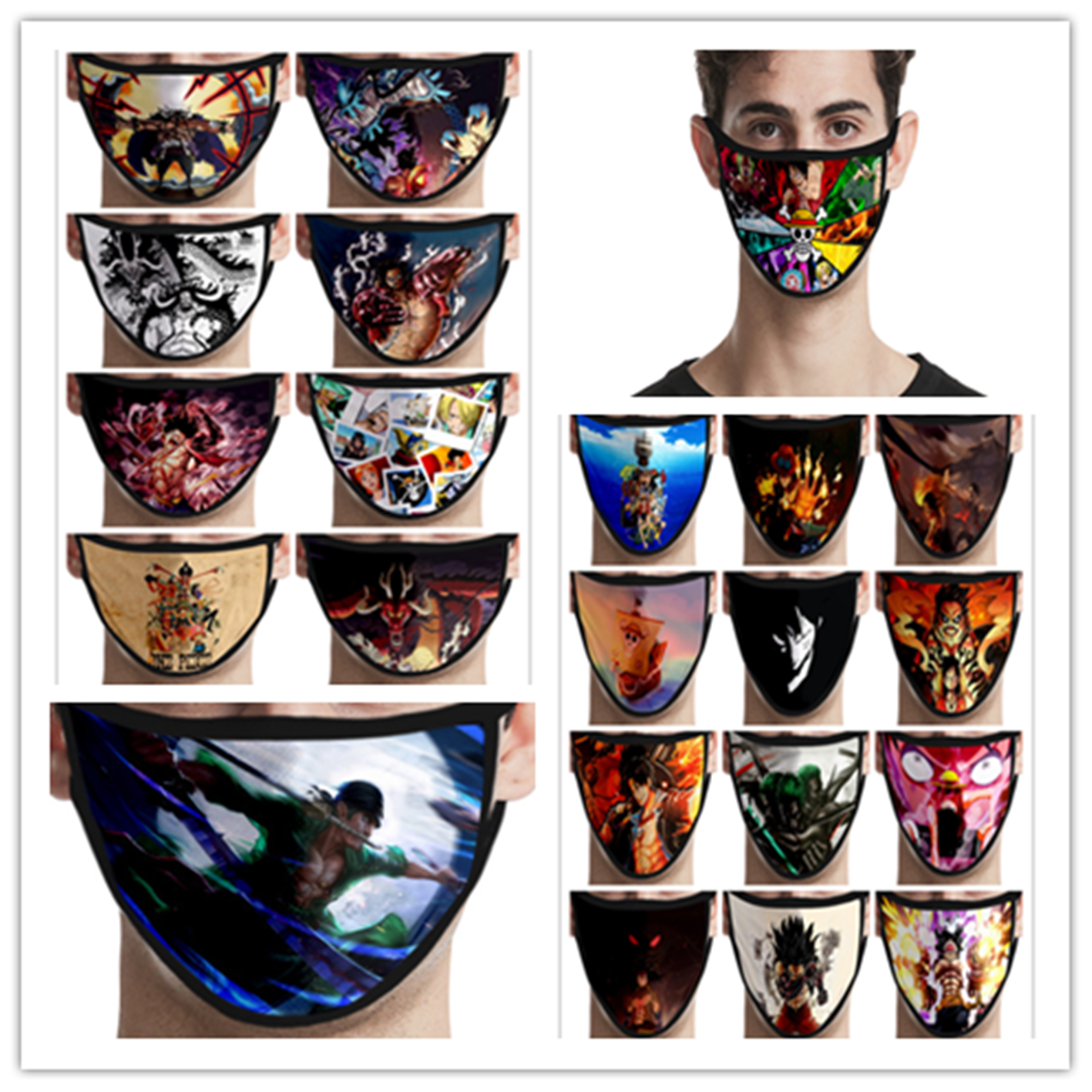 Cosplay ONE PIECE Cartoon Print Masks Protective Reusable Mask Dust Cosplay Masks Washable Twenty-two Patterns