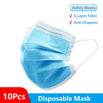 10/20/30/50 Pcs Face Mask 3 Layer Non-woven Filter Masks  Comfortable Elastic Earloop Mouth Mask Breathable Cotton Safety Masks
