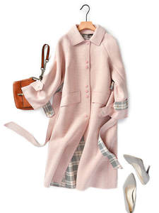 Shuchan Coat Women Pink Lady Wool-Blend Single-Breasted Waist And Office Adjustable