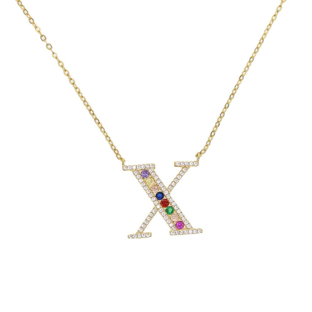 มินิส่วนบุคคลชื่อสร้อยคอ rainbow cz อักษรตัวอักษรยาวผู้หญิง A ถึง Z charming gorgeous เครื่องประดับ