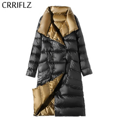 CRRIFLZ Women Double Sided Down Long Jacket Spring Autumn Turtleneck White Duck Down Double Breasted Warm Parkas Snow Outwear