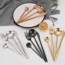 ارتفع الذهب مجموعة أدوات المائدة الفولاذ المقاوم للصدأ مجموعة أدوات المائدة أدوات طعام المائدة الغربية الفاخرة شوكة ملعقة صغيرة سكين مجموعة أدوات المائدة شوكة ملعقة