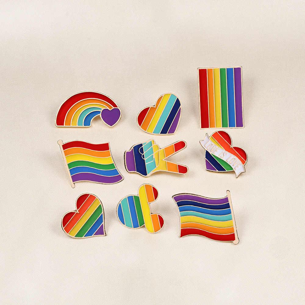9 스타일 LGBT 디자인 레인보우 크리 에이 티브 하트 예 손가락 핀 브로치 금속 핀 배지 데님 에나멜 옷깃 쥬얼리 선물 여성 unsix