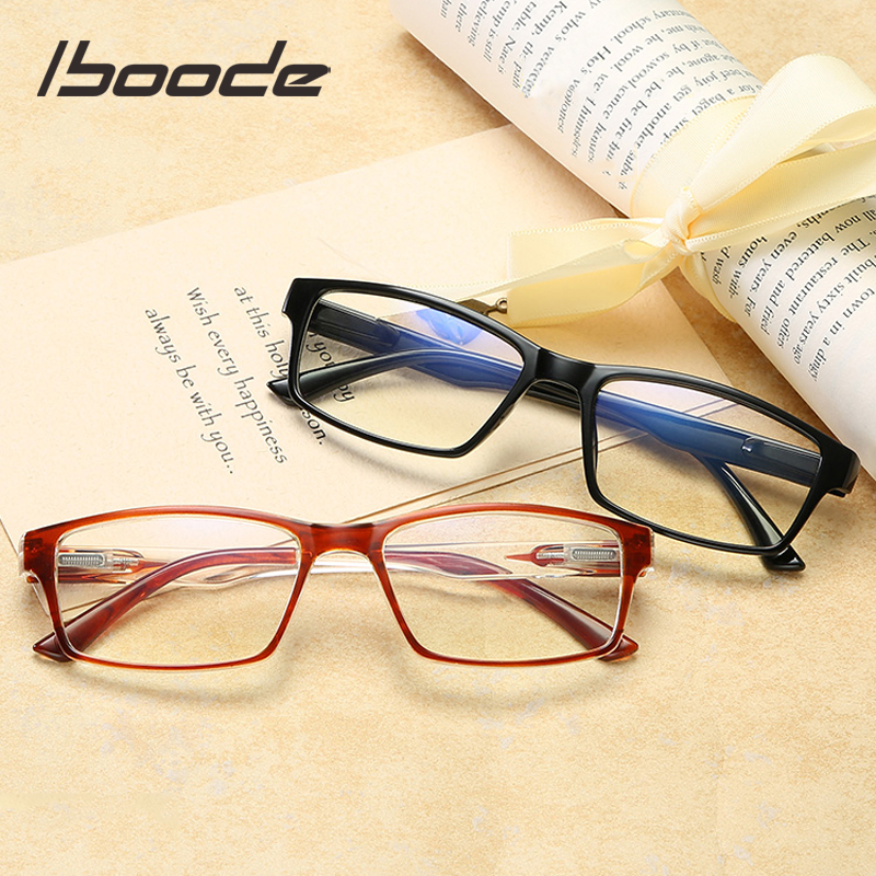 Iboode New Anti Blue Light Blocking Reading Glasses Women Ultralight Square Anti-fatigue Computer Eyewear Men Presbyopic Glasses