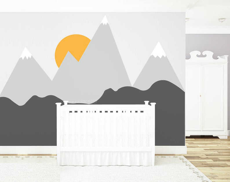 Mountains Wallpaper Woodland Wall Decals Nursery Baby Room Gray Pink Wall Art Repositionable Wall Mural Peel Stick Kids Pattern Removable Home Decor Home Living Timeglobaltech Com
