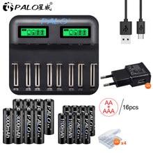 PALO LCD display inteligentna ładowarka do akumulatora USB do 1.2V AA AAA SC C D rozmiar akumulator + 1.2V AA akumulatory AAA