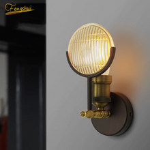 American Retro LED Wall Lamp Deco Wall Lamp Living Room Stair Bedside Cafe Bedroom LOFT Lamp Iron Wall Sconce Light Fixture(China)