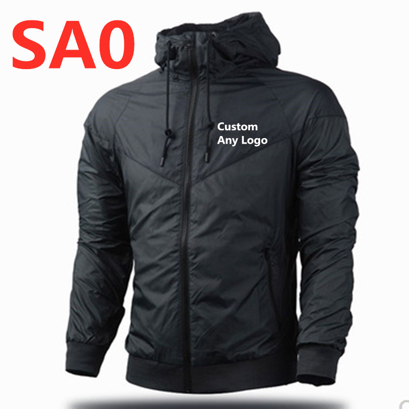 SA0 Custom Logo Hooded Men Windbreaker Spring Autumn Fashion Jacket Men's Hooded Casual Jackets Male Coat Thin Men Coats Outwear