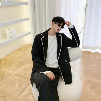 2020 Spring And Autumn New Youth Popular Stripe Raw Edge Design Niche Suit Fashion Casual Loose Top Jacket Black M-XL