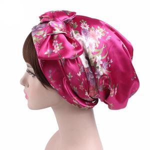 Image 5 - New Style Women Hats Floral Turban Hat Cap Muslims Cap Flower Bonnet Beanie Arab Amira Headwear Satin Turban Islamic Bow Cap New