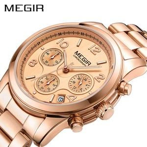 Image 4 - MEGIR luxe Quartz femmes montres Relogio Feminino mode Sport dames amoureux montre horloge haut marque chronographe montre bracelet 2057