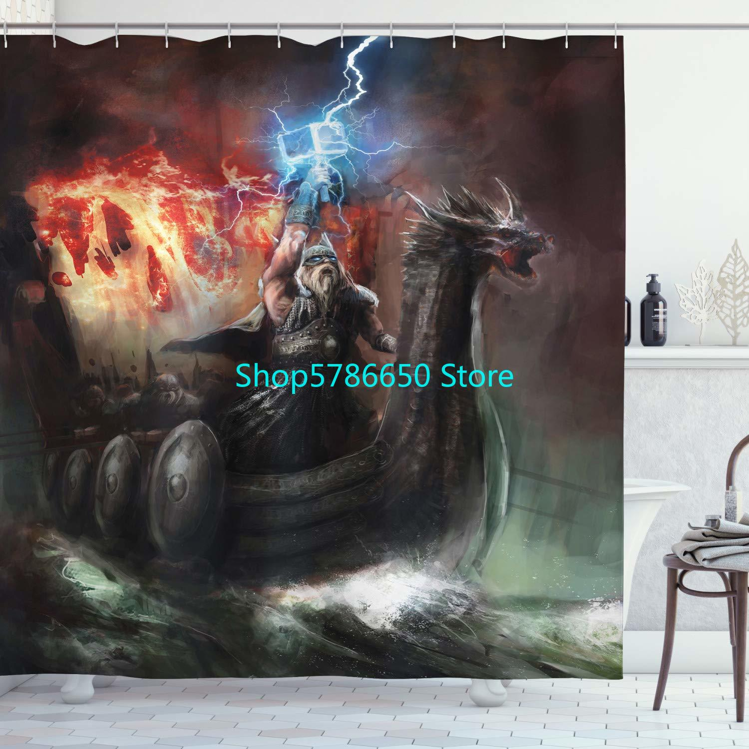 Shower Curtain Imaginary Wrath of Vikings Royal Boat with Dragon Head Storm Rays Cloth Fabric Bathroom Decor Set With 12 Hooks