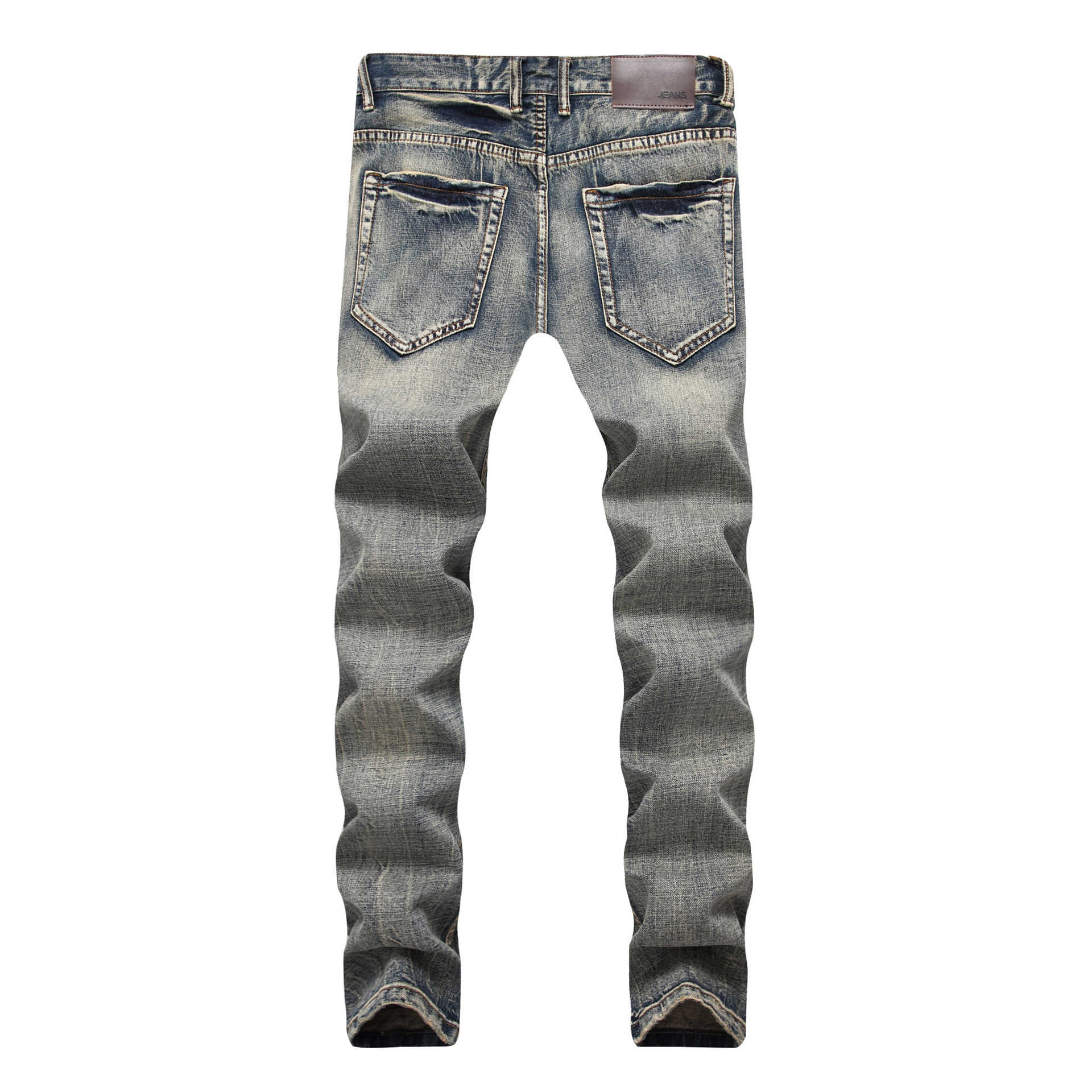 2019 Men'S Wear With Holes Nostalgic Jeans Base Fabric Multi-Frayed Chong Lan Cowboy Trousers
