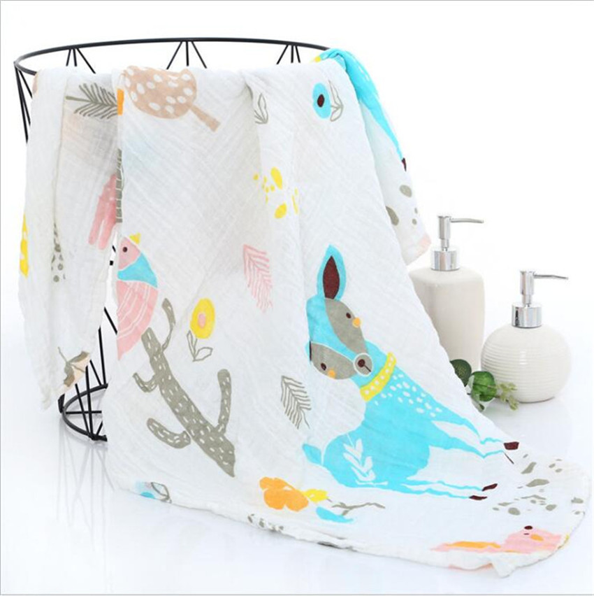Baby Blankets Newborn Muslin Cotton Blankets Unicorn Pattern Multi-use Newborn Swaddle Infant Gauze Bath Towel Baby Warp Swaddle