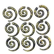New Hot Sale Pair Acrylic Spiral Ear Stretching Taper Black Piercing Ear Expander Plugs Body Jewelry Free Shipping Friend Gift(China)