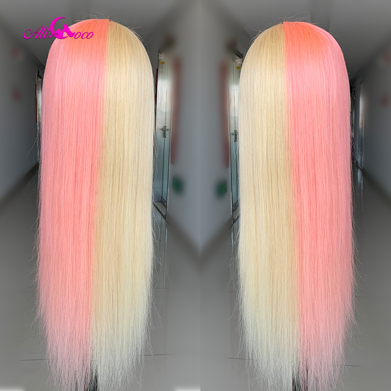 Ombre Lace Front Wig With Baby Hair Preplucked Brazilian Remy Straight Pink Blue Lace Front Human Hair Wigs For Black Women